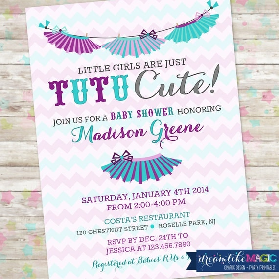 tutu baby shower invitation baby girl invite tutu cute baby shower