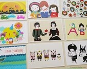 Set of 5 Minifanfan Illustration Postcard Set - Pick any 5 designs - Postcard Collection - Horizontal Postcards