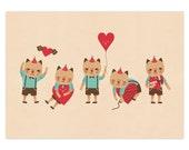 Cat in Love - A4 Giclée Print - 8.5x11 Art Print - Illustration - Valentine Print