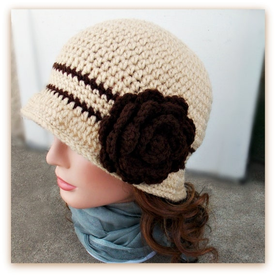 Crocheted Clara Cloche -  Toffee, Coffee, Removable Rose Brooch, Flapper Hat