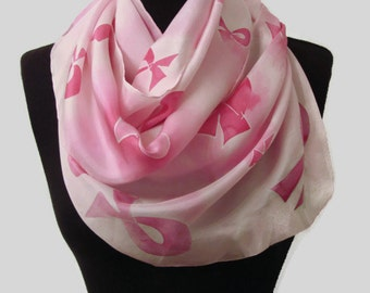 Breast Cancer Awareness Hand Painted Silk Scarf