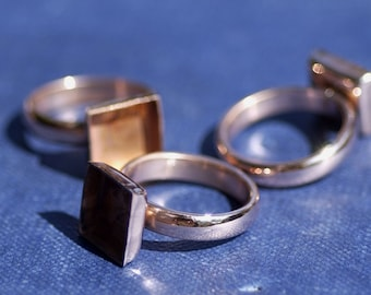 Copper Ring Square Bezel Cup Ring for Resin Gluing or Setting  Blanks - Size 7