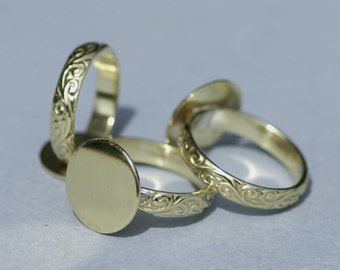 Brass Flourish Ring with Round Glue Pad Finding for Gluing - Size 7