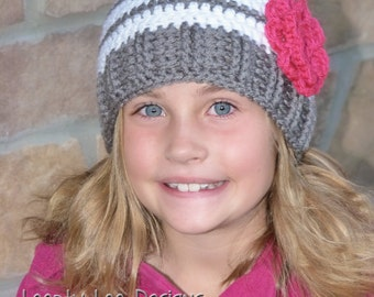 Crochet Hat, Striped Hat with Flower, Baby Girl, Photo Prop, Striped Hat, Handmade - Sizes 12 MONTHS AND UP - more color options
