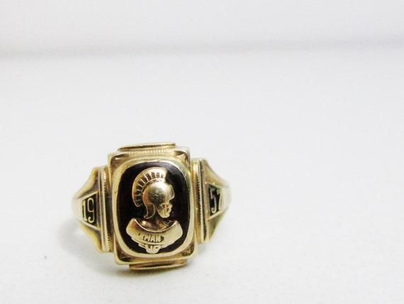 Vintage Ring 10k Gold Class Ring Trojan Warrior 1957