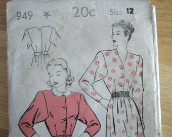1940's pattern, dress, New York Pattern,  #949, 1940s, size 12, complete