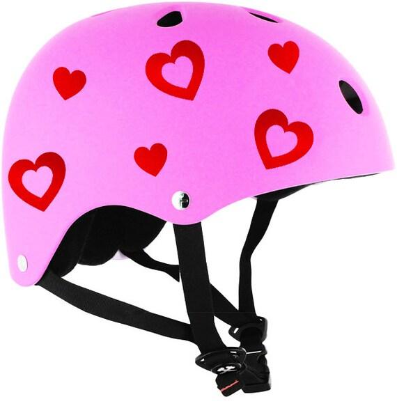 Hearts Reflective Decals Set Hearts Helmet Stickers Hearts - Pink motorcycle helmet decals