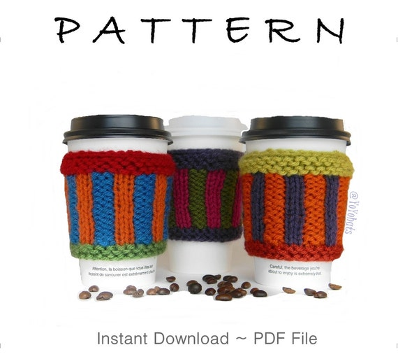 Knitted Mug Warmers Pattern : Mug Warmer Knitting Pattern Knitted Coffee Sleeve by YoYohats