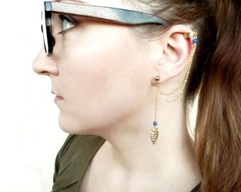 Arrow Ear Cuff Earrings, Arrowhead Earrings, Gold Ear Cuff Chain, Boho Earcuff Earring