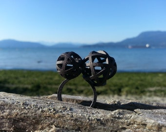 Large Two Moons Geometric Ring // 3D Printed Steel Brass Silver Ring // Gold-Plated // size 8.0