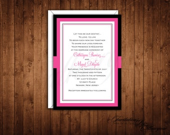 Hot Pink and Black Wedding Invitations, Wedding Invitations, Monogram Wedding Invitations, Spring Wedding Invitations, Shower Invitations