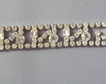 Vintage 1950s Clear Art Deco Rhinestone Bracelet...Perfect for a Bride