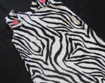 Maryjane Sleep Sack - 12months plus - Zebra with Bright Pink Flower Buttons