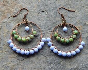 Chandelier earrings, Beaded Hoop earrings,  wire wrapped hoops, periwinkle blue, sage green, color block jewelry