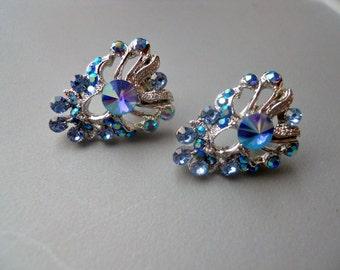 Retro 90s Brilliant Blue Aurora Crystal Rhinestone Post Silver Tone Metal Earrings