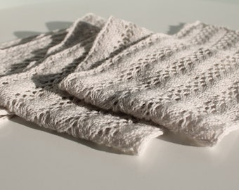 Hand knit lace scarf in silver grey lambswool