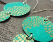 Turquoise and Gold Chrysanthemum Chandelier Earrings