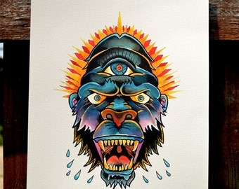 Gorilla Traditional tattoo print