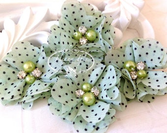 """4 pcs Aubrey DUSTY MINT polka Dots Patterned - 2"""" Soft Chiffon with pearls and rhinestones Layered Small Fabric Flowers, Hair accessories"""