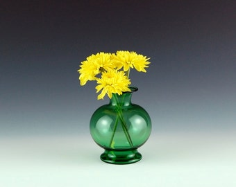 Green Bud Vase, Hand Blown Glass