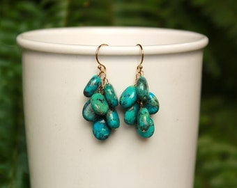 Natural Turquoise Dangle Earrings, Greenish Blue Turquoise Earrings, Turquoise Jewelry, Dangle Earring, Drop, Genuine Turquoise Cascade
