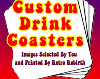 Coasters Custom Order Drink Coaster Set - Personalized Drink Coasters By You - Any Image Or Logo You Select & Send To Me - Set Of 4