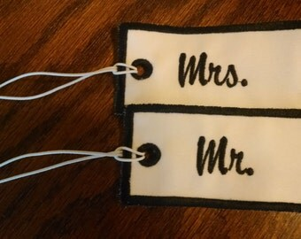 Set of Mr. and Mrs. Embroidered Luggage Tags