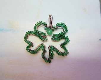 Shamrock Pendant wire wrap with green beads w/ antique Copper non tarnish wire St. Patricks Day