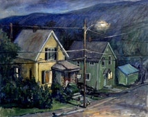 Summer Nocturne. Large Oil Painting on Canvas, 24x30 Plein Air Impressionist Landscape, Signed Original American Realist Fine Art