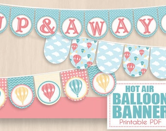 HOT AIR BALLOON Party Banner in Coral Pink and Teal Blue- Instant Printable pdf Download