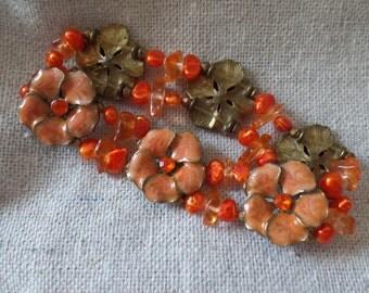 Vintage Orange Enamel Flower Blossoms Stretch Bracelet