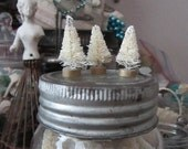 3 miniature bottle brush trees - 1.5 inches - winter white