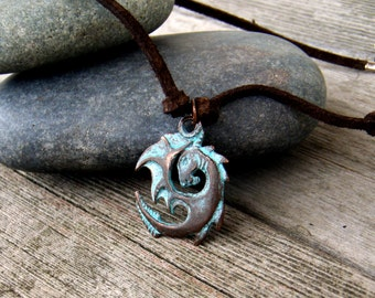 Tribal Dragon Pendant . Rustic Leather and Verdigris Necklace . Nomad's Talisman . extra-long