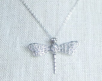 Sterling silver dragonfly necklace, dragonfly pendant, dainty dragonfly, dragonfly jewelry, filigree dragonfly, layering necklace, gift