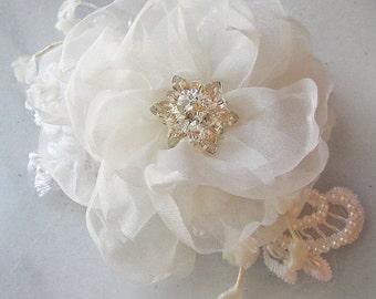 Ivory Bridal Fascinator, Pale Ivory Hair Flower, Ivory Organza Bridal Head Piece, Vintage Style, Flowers,Pearls and Rhinestones - OLIVIA
