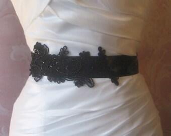 Black Lace Bridal Sash, Black Lace Bridal Belt, Bridesmaid, Black Sash - TRISTE