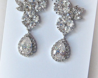 Crystal Chandelier Earrings, Cubic Zirconia Earrings, Vintage Style Rhinestone Bridal Earrings - MIKA