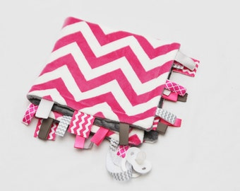 Baby Ribbon Tag Blanket - Minky Binky Blankie - Fuschia and White Chevron with Grey - Last ONE