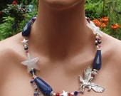RESERVED for Marge Patriotic 4th of July statement necklace by beadazzledgems euc artteam fae eth tt