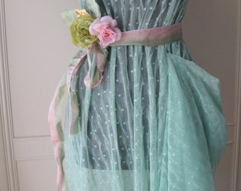 """60"""" Wide Four Way Stretch Mint Green Lace Polka Dot Tulle Crinkled Lace Point D'Esprit Fabric 20 JM36"""