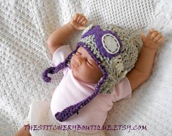Baby girl aviator hat  goggles coming home outfit newborn girl rockateer pilot hat photo prop hat purple gray tweed wool  crochet