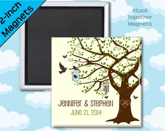 Country Wedding Favors Magnets - Tree - Rustic Wedding - 2 Inch Squares - Set of 10 Magnets