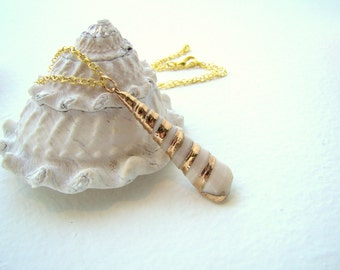 Natural Sea Shell Gold Dipped Necklace - Beach Jewelry