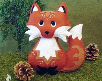 Red Fox Sewing Pattern PDF - Woodland Stuffed Animal Felt Plushie - Riley the Red Fox