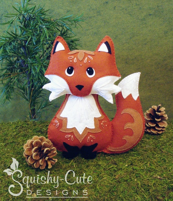 Red Fox Sewing Pattern PDF - Woodland Stuffed Animal Felt Plushie - Riley the Red Fox