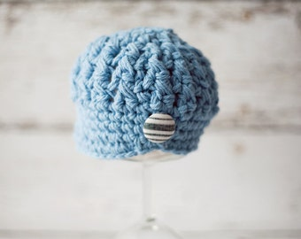 Blue Crochet Baby Boy Hat with Button, 3 to 6 Months - READY TO SHIP