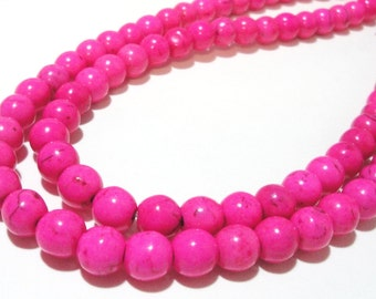 """Hot Pink Round Beads - Smooth Howlite Gemstone - Round Ball Beads - Necklace Beads - 8mm - 16"""" Strand - Center Drilled - Diy Jewelry in Bulk"""