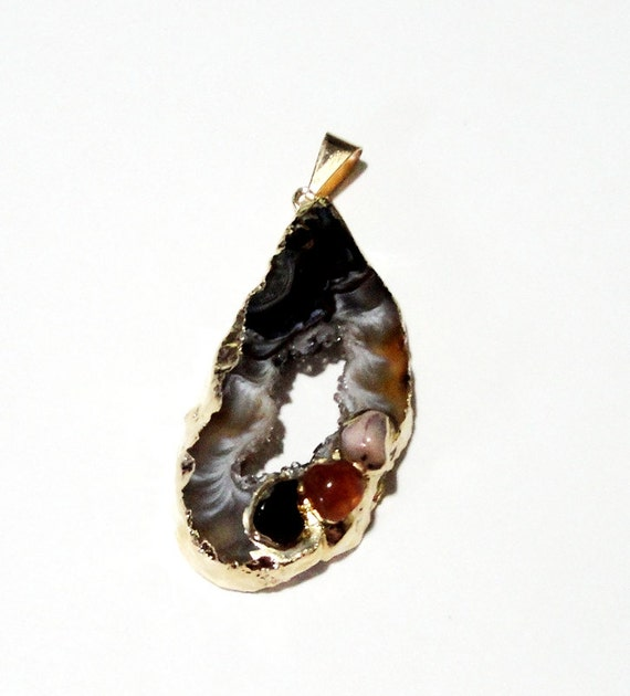Geode Slice Druzy Agate Dipped Gold Teardrop Pendant, Drusy Druzzy Agate Hollow Center, Multiple Gemstone Accent