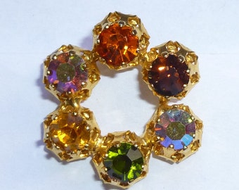 Gold Toned Multi Colored Rhinestone Vintage Earring For Parts Made By Star