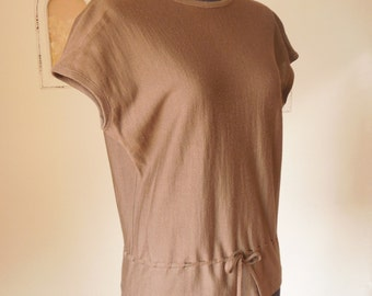 LAST CHANCE SALE...Vintage 60s Sweater, Cocoa Brown, Short Sleeve, Small to Medium